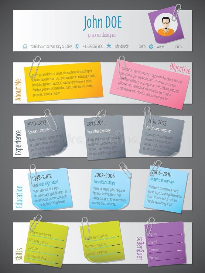 Modern hervat cv-malplaatje met post-its en kleurenbanden vector illustratie