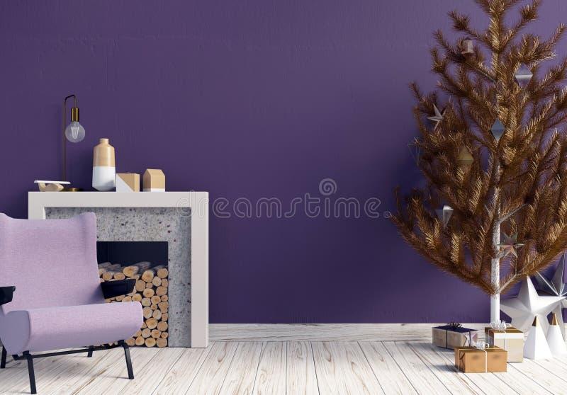 Modern het glanzen Kerstmisbinnenland met open haard, Skandinavisch s stock illustratie