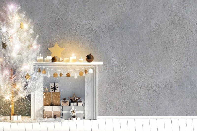 Modern het glanzen Kerstmisbinnenland met open haard, Skandinavisch s royalty-vrije illustratie