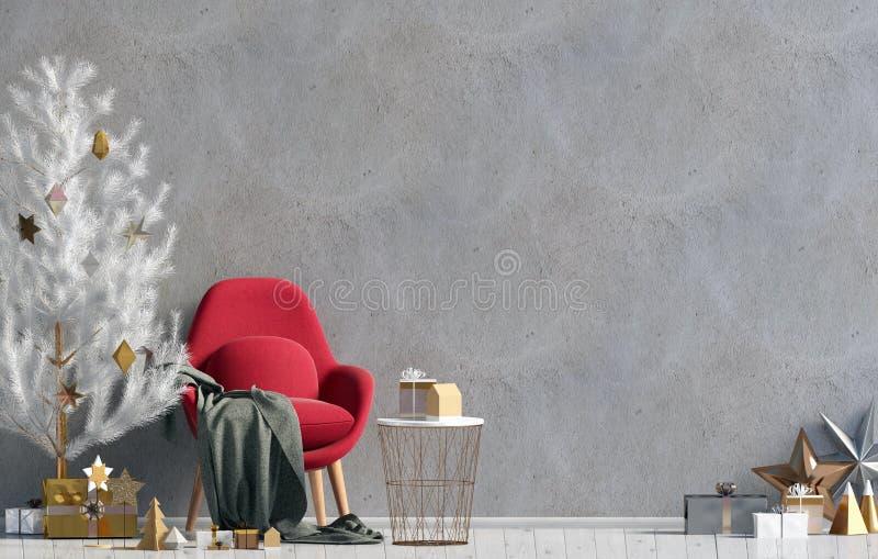 Modern het glanzen Kerstmisbinnenland met stoel, Skandinavische stijl vector illustratie