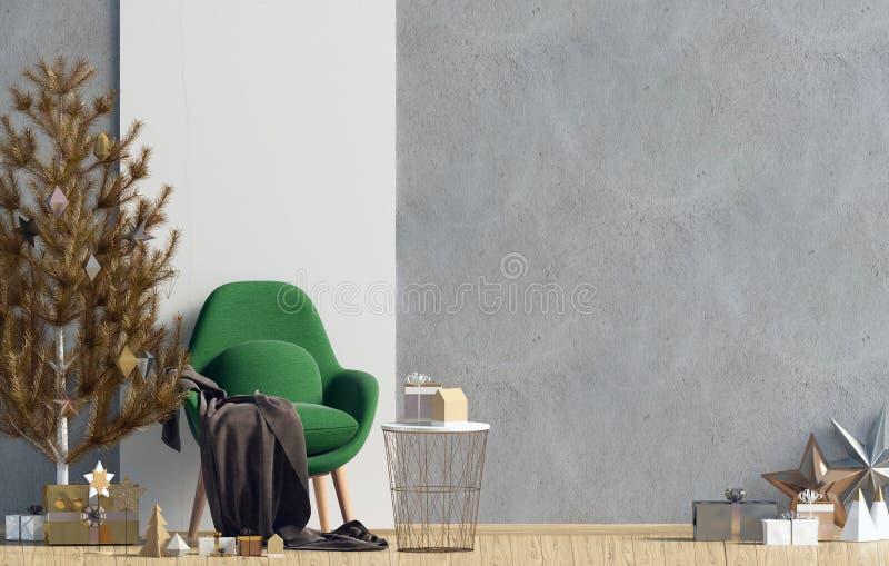 Modern het glanzen Kerstmisbinnenland met stoel, Skandinavische stijl stock illustratie