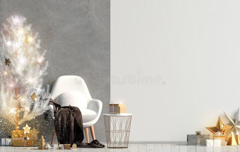Modern het glanzen Kerstmisbinnenland met stoel, Skandinavische stijl royalty-vrije illustratie