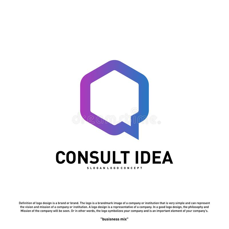 Modern Hexagon Business Consulting Agency logo design template. Simple Digital Consult logo concept.  vector illustration