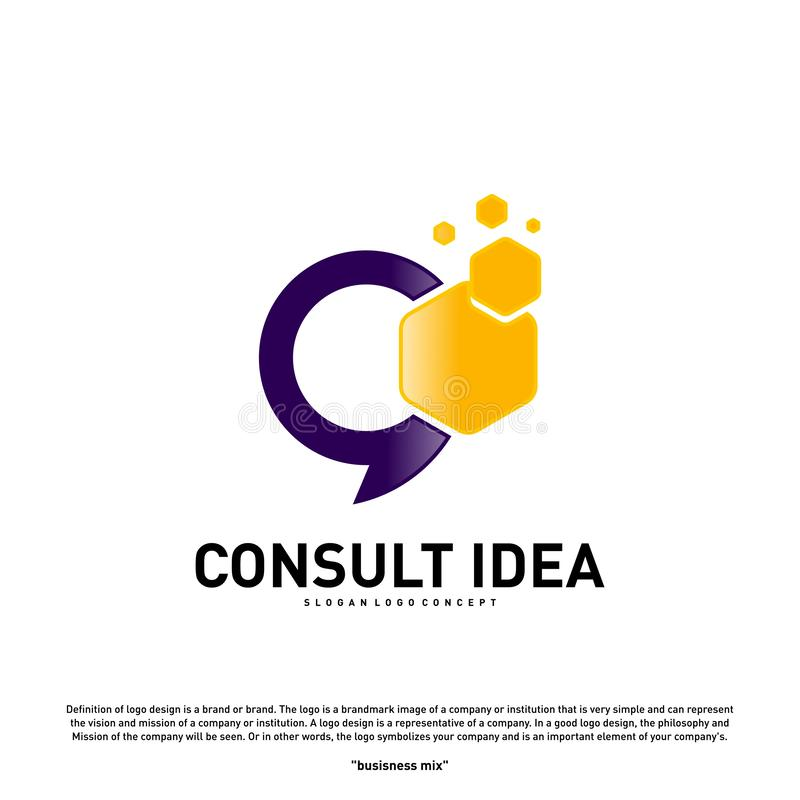 Modern Hexagon Business Consulting Agency logo design template. Simple Digital Consult logo concept.  stock illustration