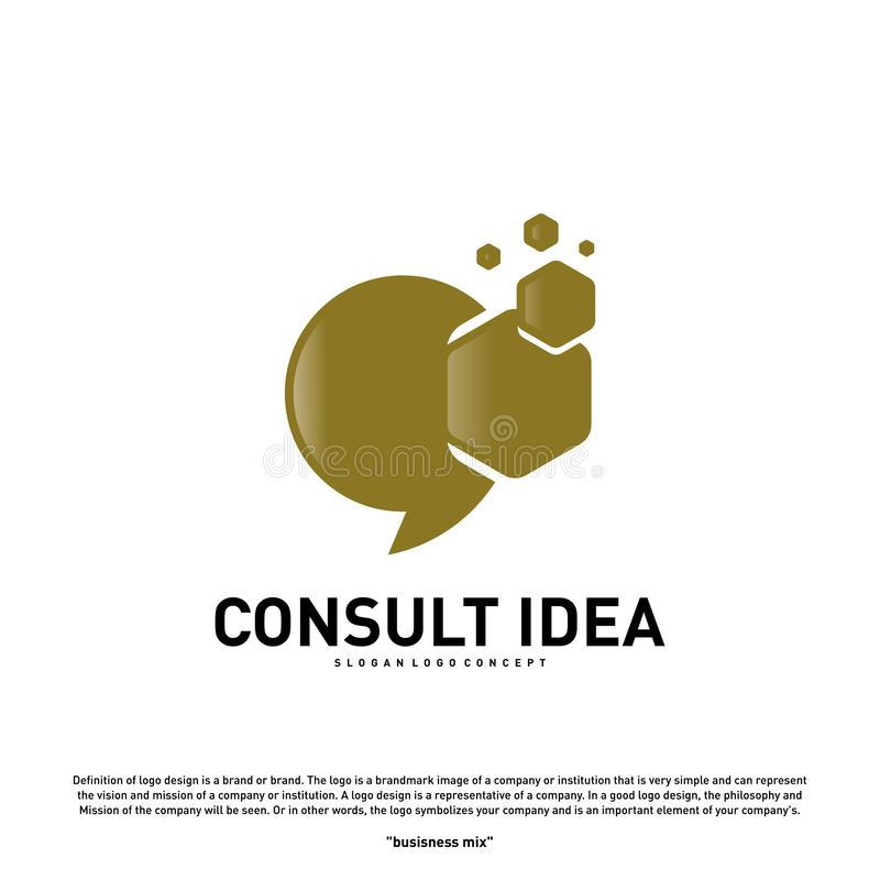 Modern Hexagon Business Consulting Agency logo design template. Simple Digital Consult logo concept.  royalty free illustration