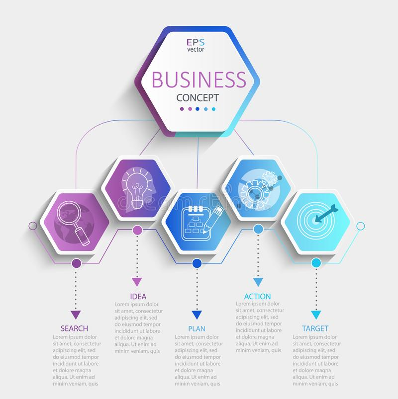 Modern hexagon infographic. Modern hexagon infographic with business timeline data visualization.Diagram with 5 steps,options,parts and processes.Template for vector illustration