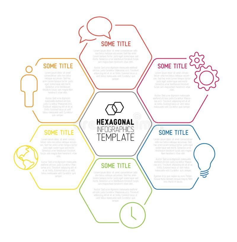 Modern hexagonaal die Infographic-rapportmalplaatje van lijnen wordt gemaakt vector illustratie