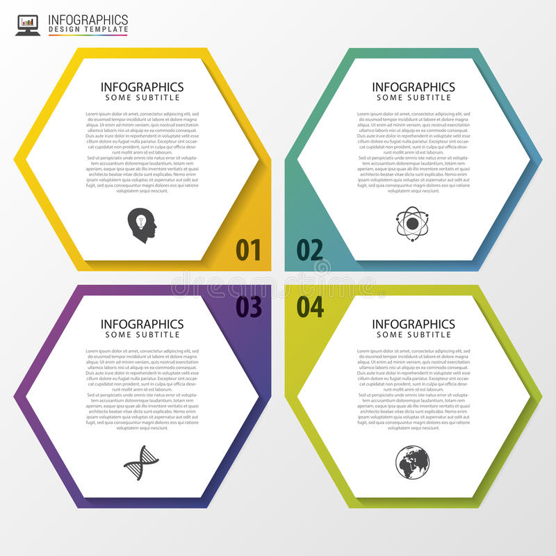Modern hexagons. Infographic design template. Vector illustration royalty free illustration