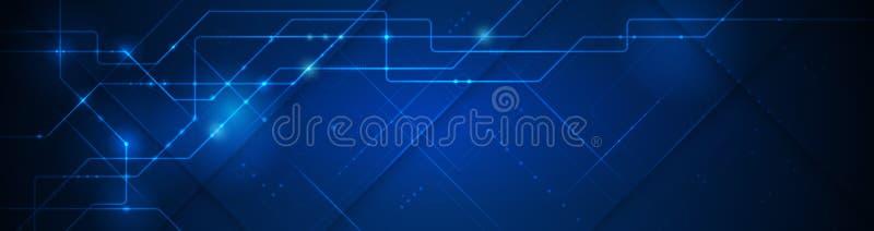 Modern hi tech digital technology concept. Abstract internet communication, future science techno design. Vector banner design, illustration technology with line stock illustration