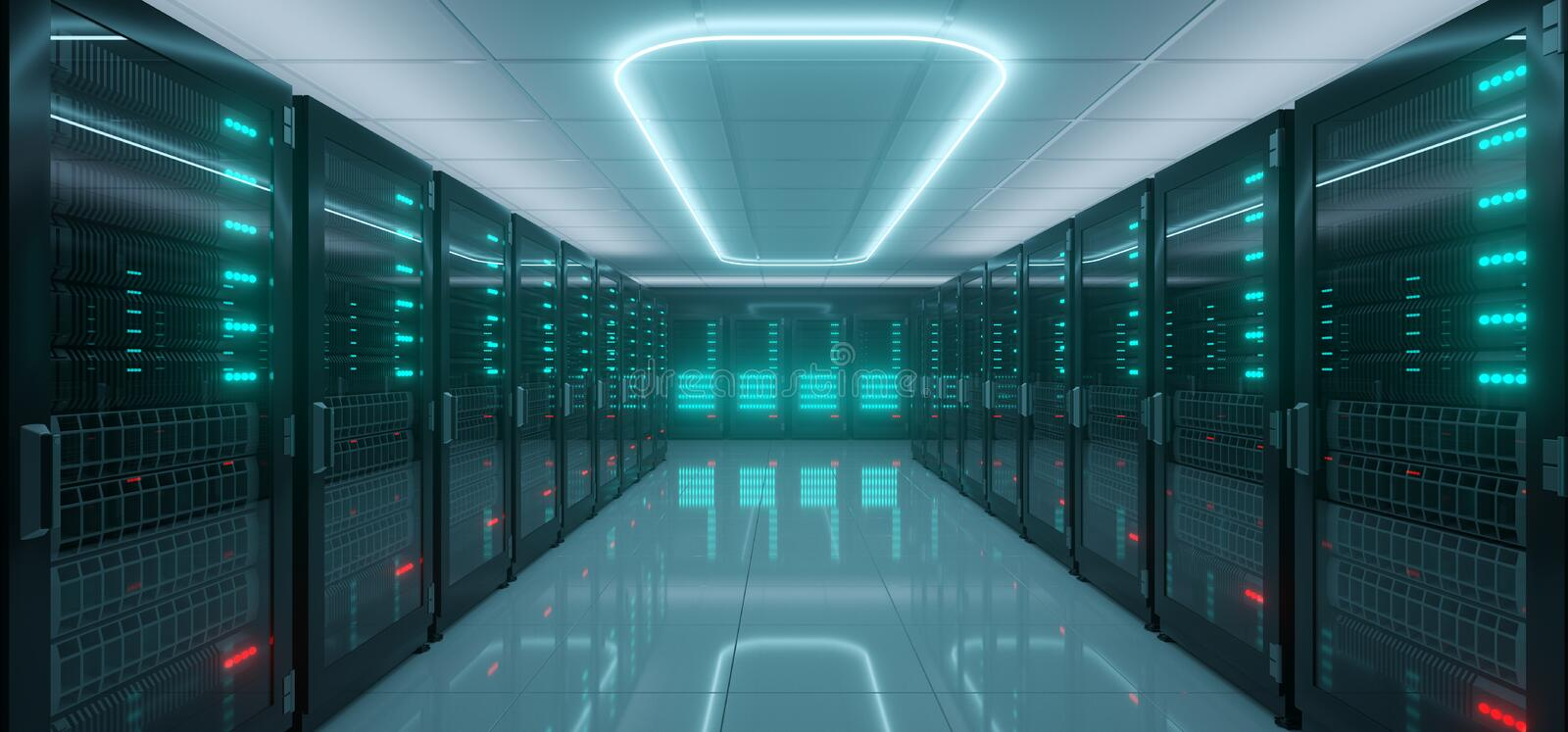 Modern Hi-Tech IT Server Rack Room With A lot Servers With Glowing Lights On Reflective Floor And Neon Light On The Ceiling stock illustration