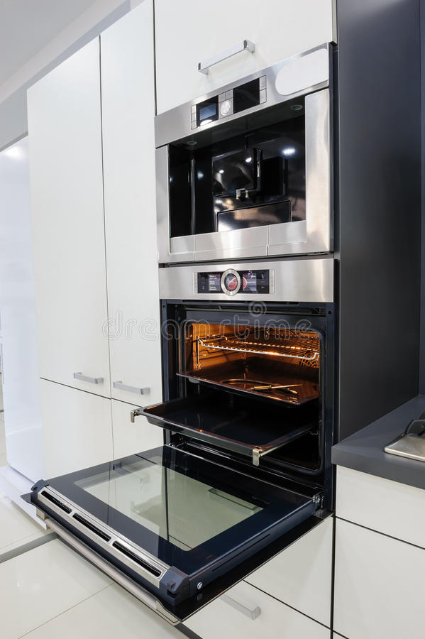 Modern Hi-tek Kitchen, Oven With Door Open Stock Image ...