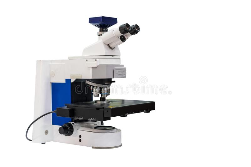 Modern & high accuracy microscope during sample or specimen inspection for quality control in industrial metallurgy electronic royalty free stock image