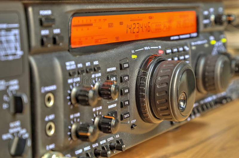 Modern high frequency radio amateur transceiver stock image
