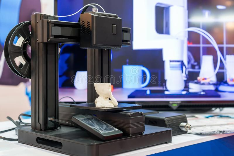 Modern high precision and technology 3d printer machine. For industrial etc royalty free stock image