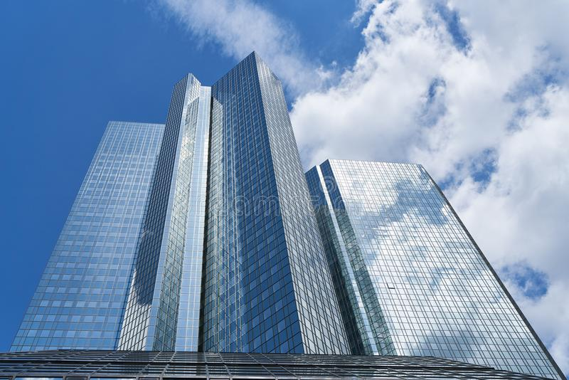 Modern high-rise architecture in Frankfurt am Main. With clouds in the sky royalty free stock photos