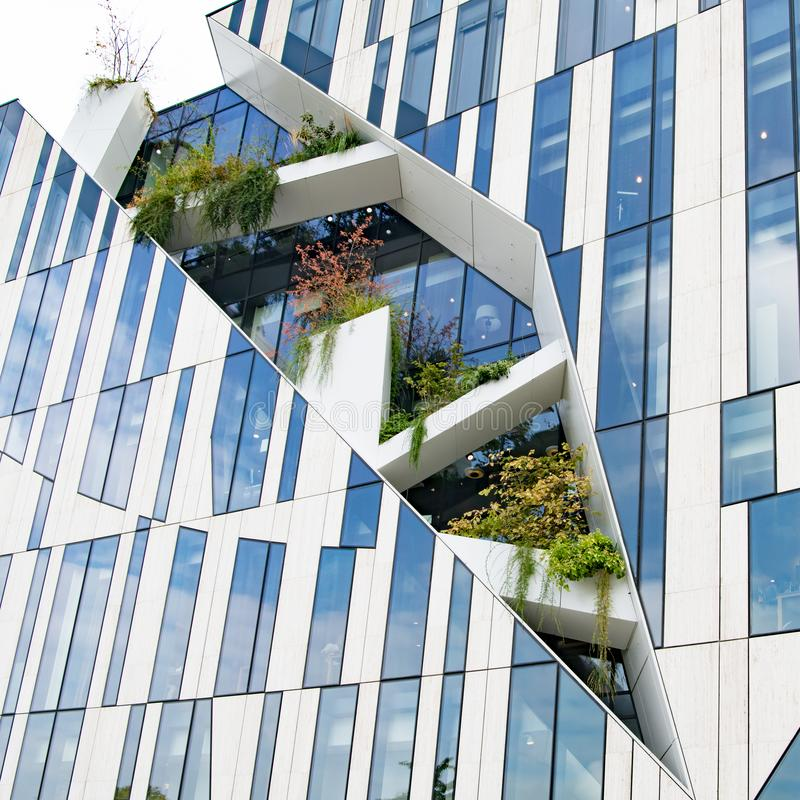 Free Modern High-rise Building By Star Architect Libeskind With Space For Plantsc Trees In Facade Of Koe-Bogen In Dusseldorf, Germany Stock Photo - 161287190