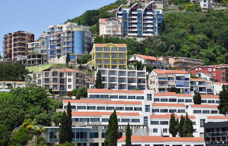 The Modern high-rise buildings in Budva, Montenegro. The Modern high-rise buildings in a Budva, Montenegro stock image