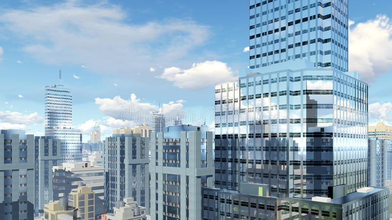 Modern high rise buildings with reflections. Abstract modern high rise office buildings skyscrapers with reflection on its mirror windows against cloudy sky at royalty free illustration