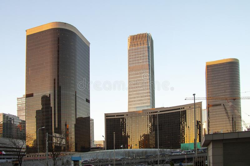 Modern high rise buildings. Skyline image with reflections in windows. Stock image royalty free stock images