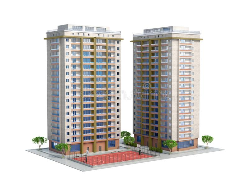 Modern high-rise residential building with a playground stock illustration