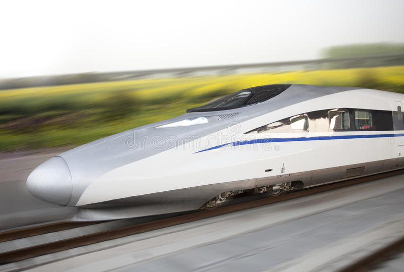 Download Modern High Speed Bullet Train On Track Stock Image - Image: 24506533