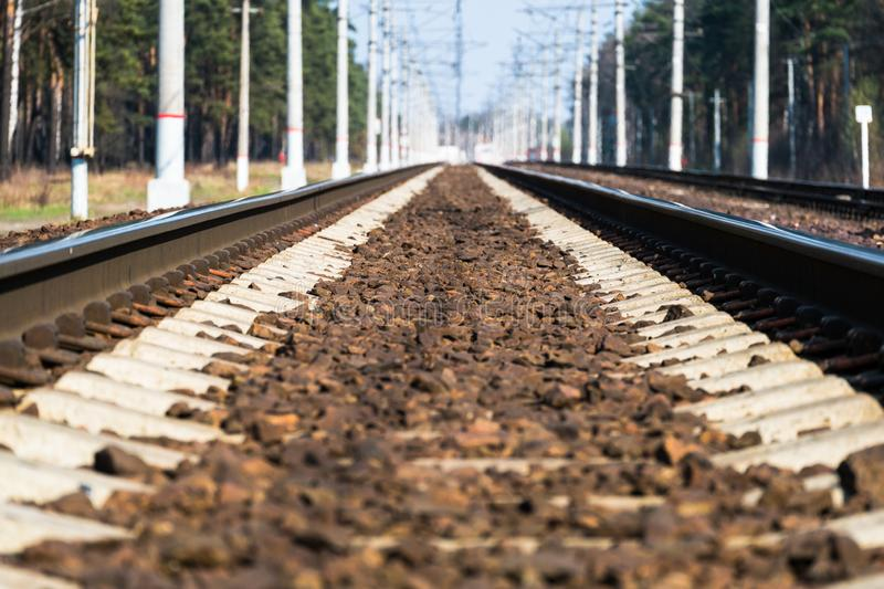 Modern high-speed railway.Railroad tracks.Railway track covered with gravel.Eastern Europe.  stock images