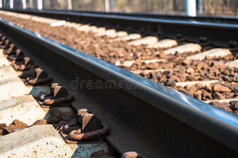 Modern high-speed railway.Railroad tracks.Railway track covered with gravel.Eastern Europe.  stock photography