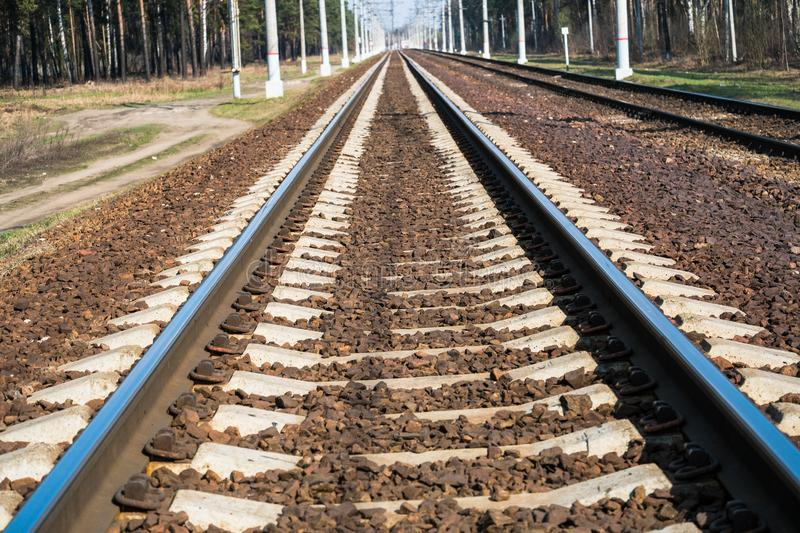Modern high-speed railway.Railroad tracks.Railway track covered with gravel.Eastern Europe.  royalty free stock images