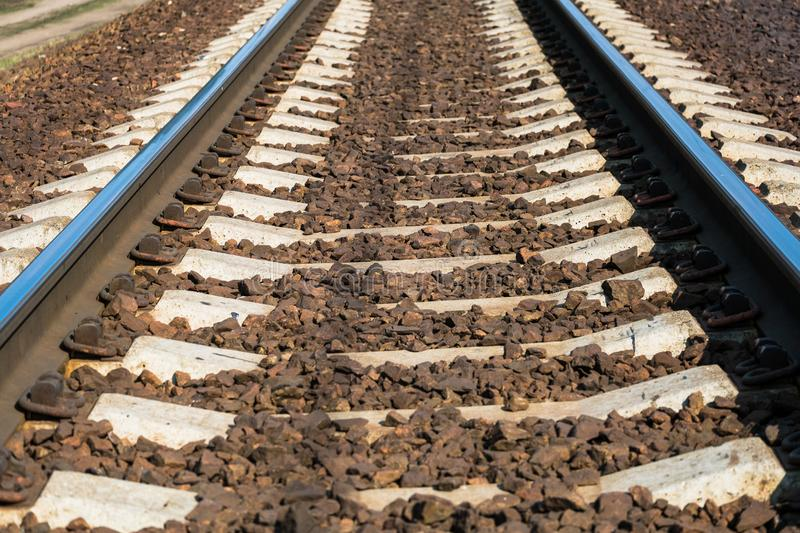 Modern high-speed railway.Railroad tracks.Railway track covered with gravel.Eastern Europe.  royalty free stock image