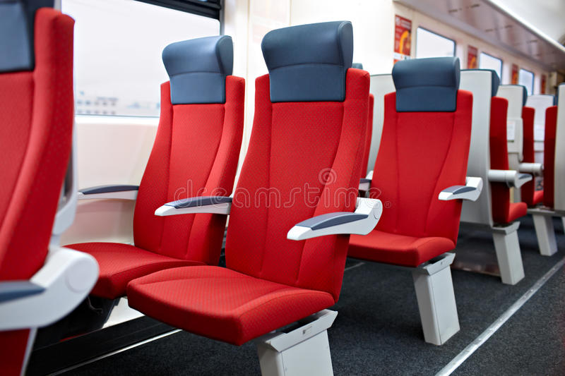 Modern high speed train interior. stock images