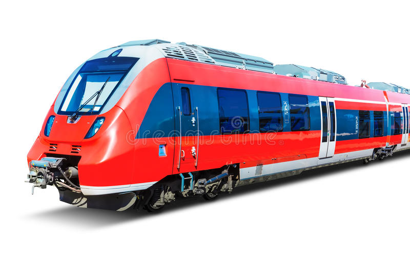 Modern high speed train isolated on white. Creative abstract railroad travel and railway tourism transportation industrial concept: red modern high speed royalty free stock photos