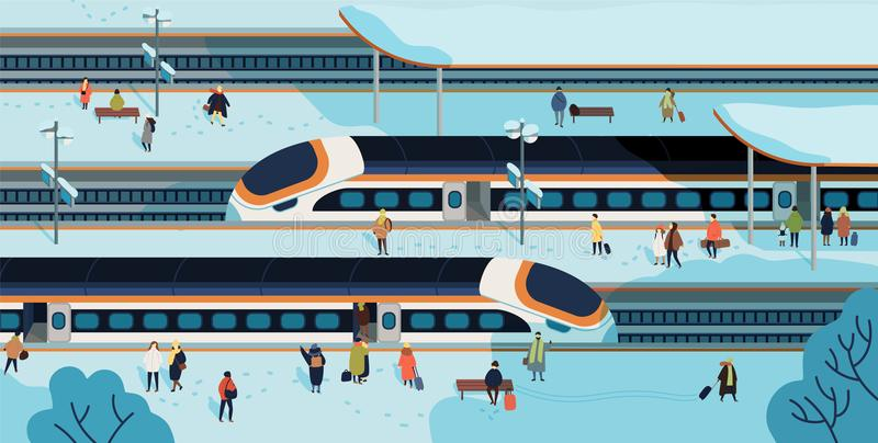 Modern high speed trains stopped at railway station and people standing and walking on platform covered by snow royalty free illustration