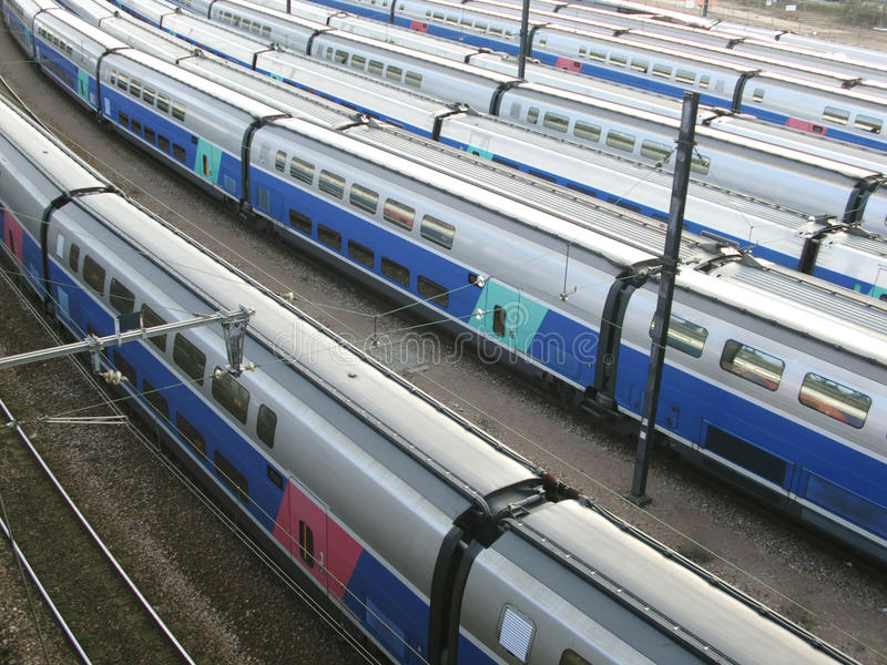 Modern high speed trains stock photography