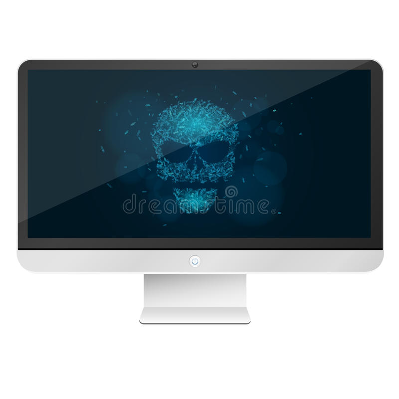 Modern, high-tech computer isolated on white background. A glowing blue skull from the programming tags. Hackers broke the system. stock illustration