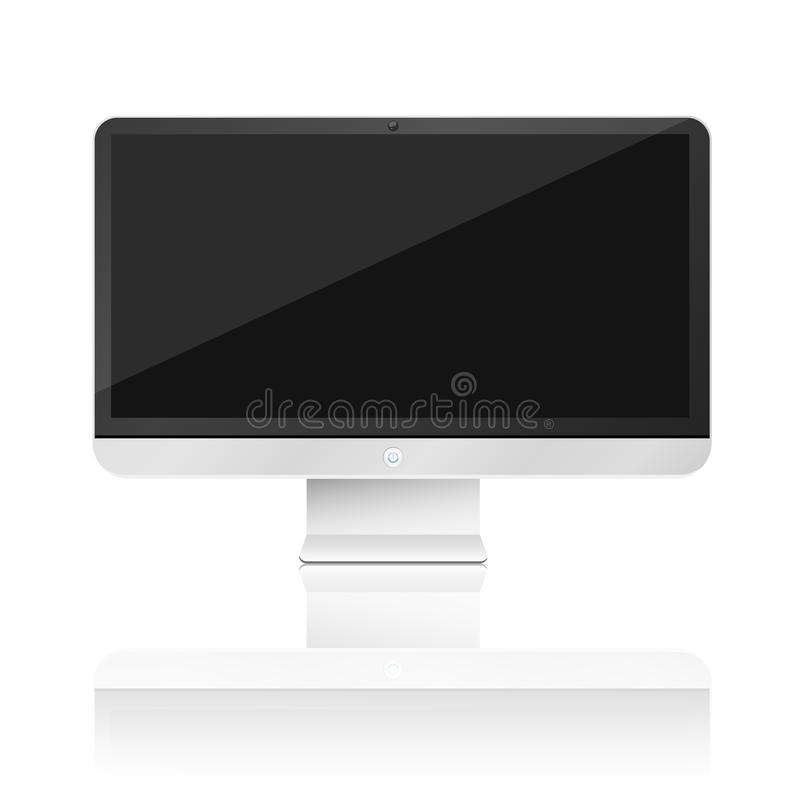 Modern, high-tech computer isolated on white background with reflection. Empty monitor screen. Vector illustration vector illustration