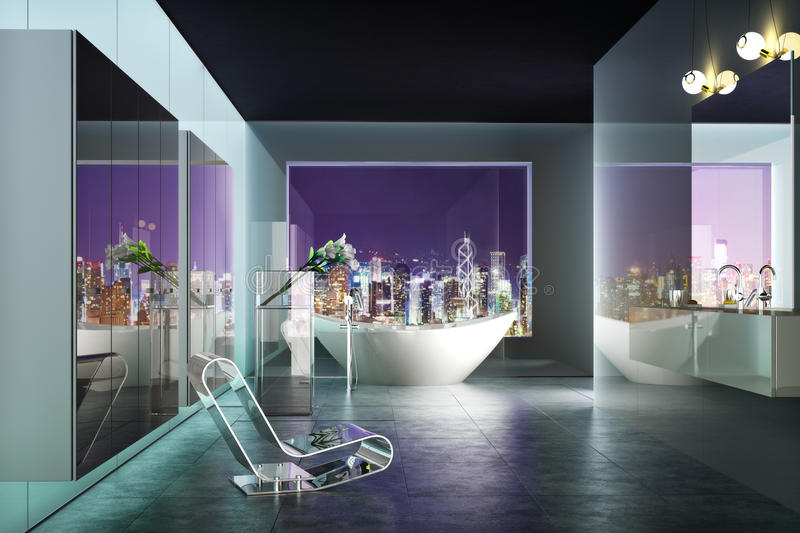 Modern highrise contemporary bathroom interior with view of the city. Photo realistic 3d rendered scene stock illustration