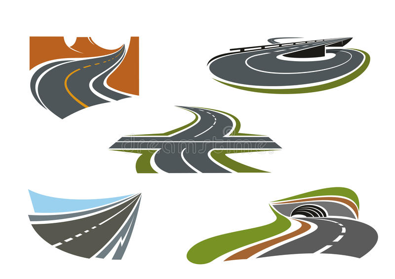 Modern highways, roads and freeways icons. Crossroad, mountain road, highway tunnel, road bridge and modern speed freeway icons set, for transportation theme vector illustration