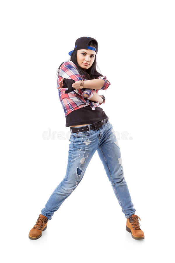 Modern hip hop dance girl pose on isolated background stock photo download modern hip hop dance girl pose on isolated background stock photo image of voltagebd Gallery