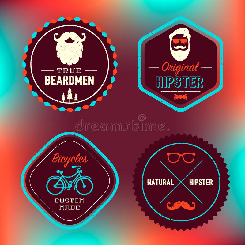 Modern hipsteremblemuppsättning stock illustrationer