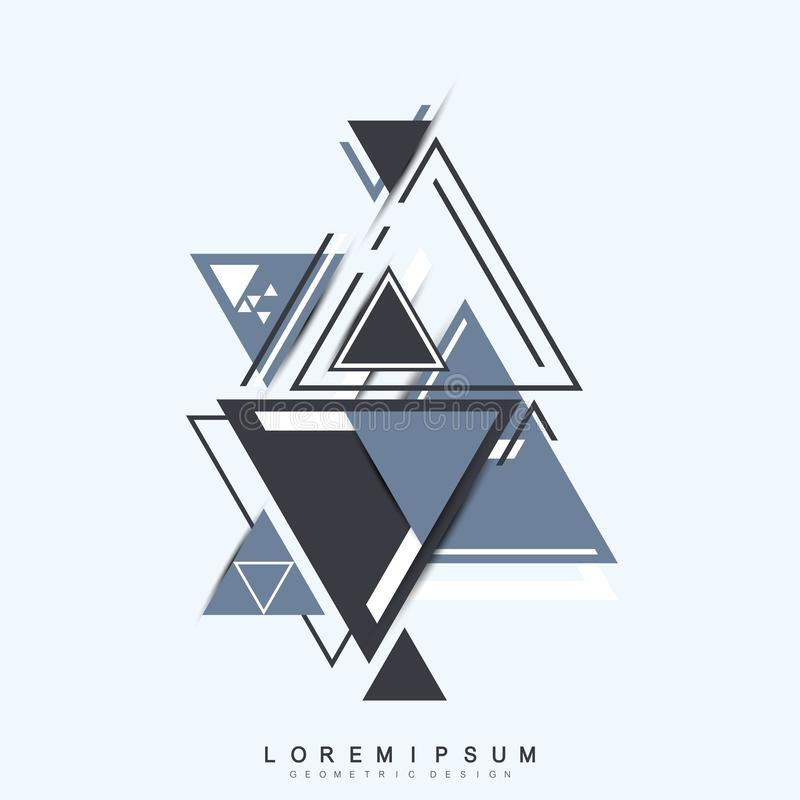 Modern hipstertriangelbakgrund Slumpmässig triangelmodell Abstrakt teknologidesignmall i minsta stil för royaltyfri illustrationer