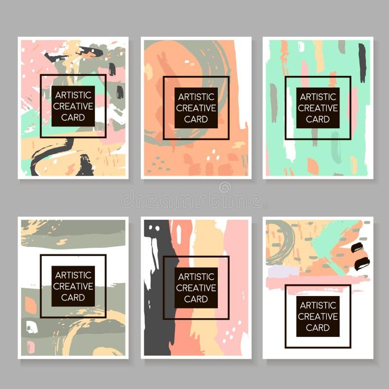 Modern Hipsteruppsättning av konstnärliga kort, affischer, plakat, reklamblad, inbjudningar Moderiktig bakgrund med hand drog bes stock illustrationer
