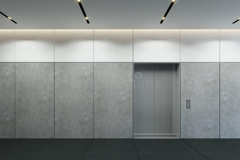 Modern hiss med den st?ngda lobbyen f?r d?rrar i regeringsst?llning, 3d att framf?ra vektor illustrationer