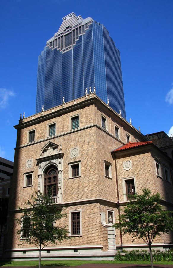 Modern and historic building in Houston royalty free stock photos