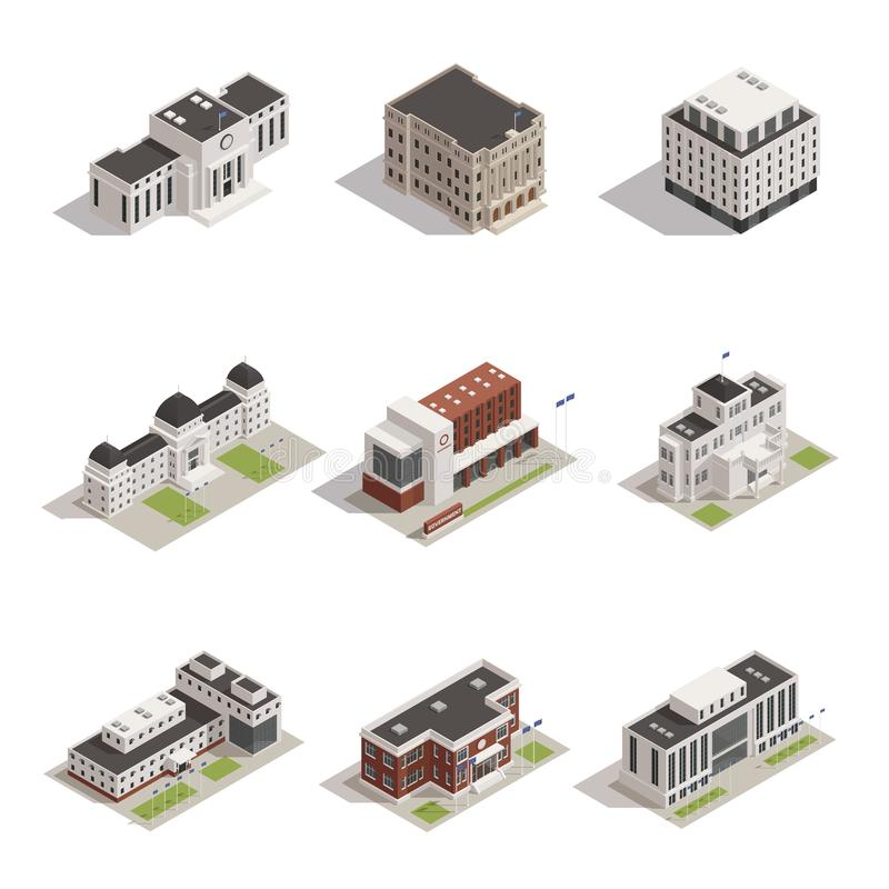 Government Buildings Isometric Icons Set. Modern and historical representative government building architectural monuments outdoor isometric view icons royalty free illustration