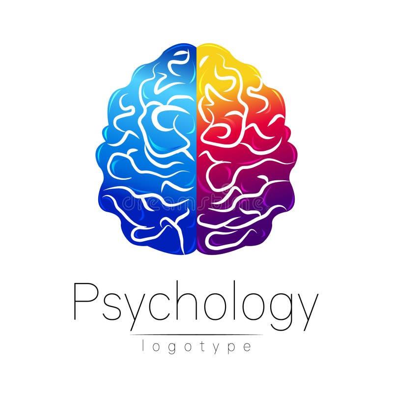 Modern hjärnlogo av psykologi mänskligt Idérik stil Logotyp i vektor Inskriften av rött färgar lokaliserat över text av vit färga stock illustrationer