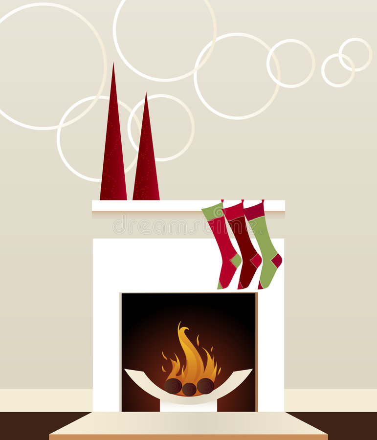 Modern Holiday Fireplace stock image