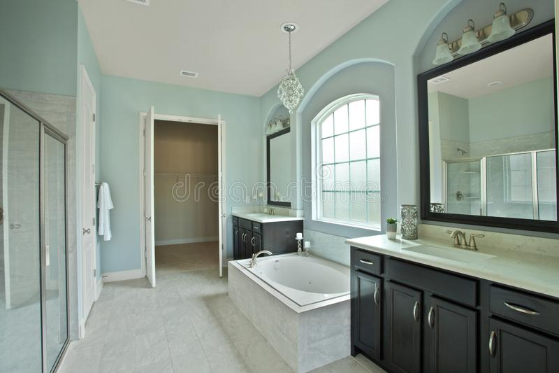 Modern Home Bathroom Interior Luxury Tile Tasteful Decoration Furniture Washroom Design Inspiration stock photography