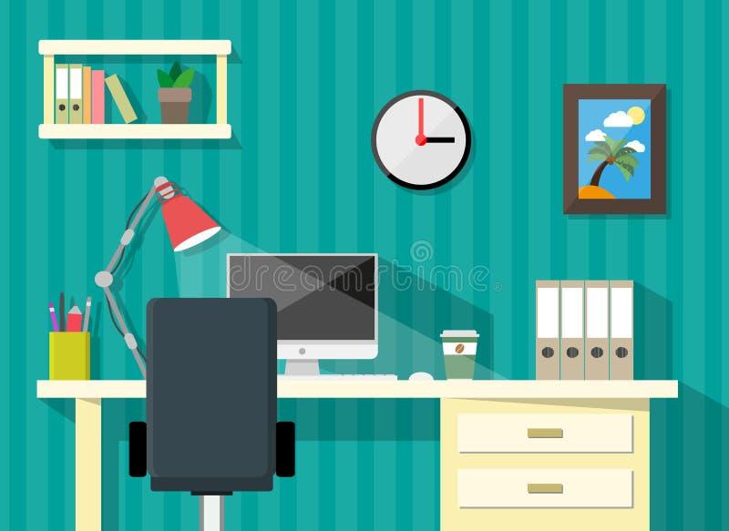 Modern home or business workspace vector illustration