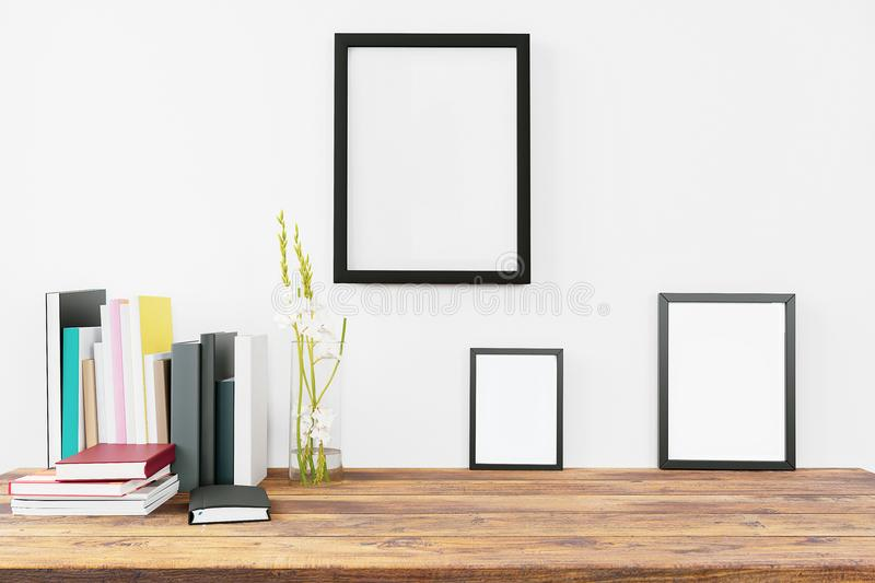 Modern Home Decor With Blank Painting Frames Mock Up Design Stock ...