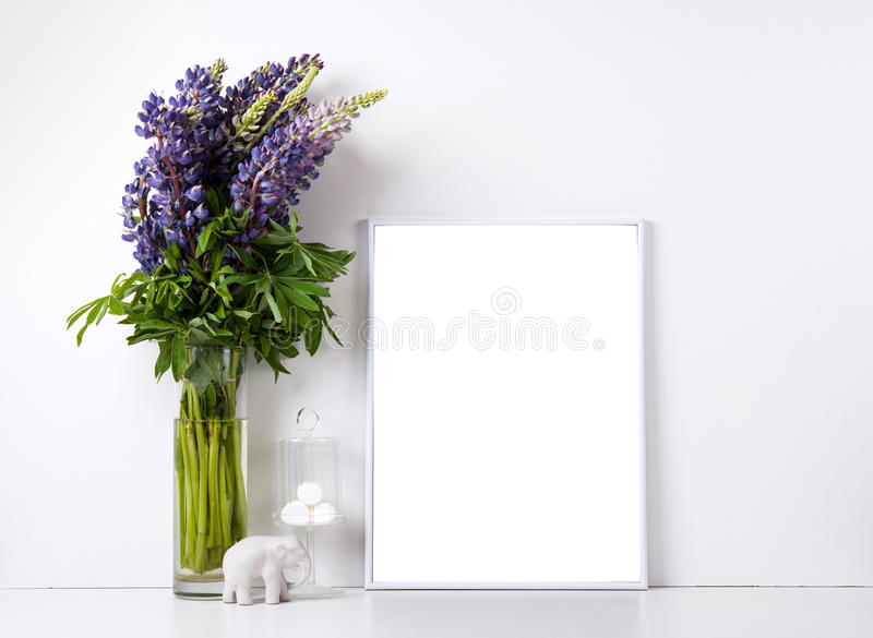 Modern home decor mock up stock photo image of frame for Modern home decor objects